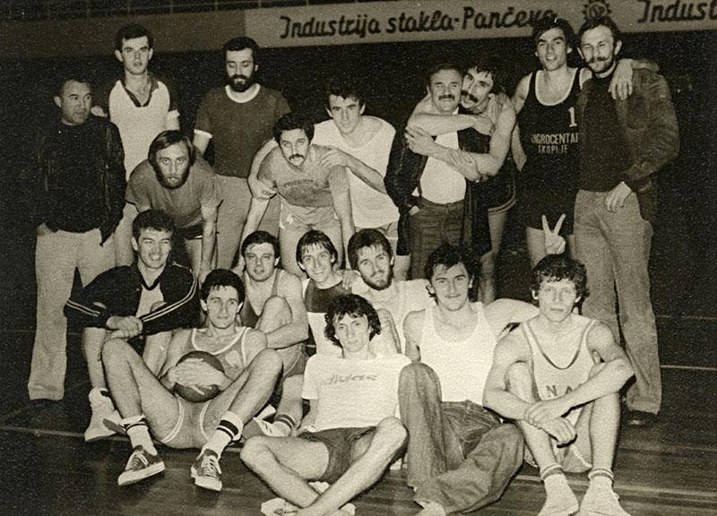 KK Dinamo Pančevo na poslednjem treningu 1978. godine